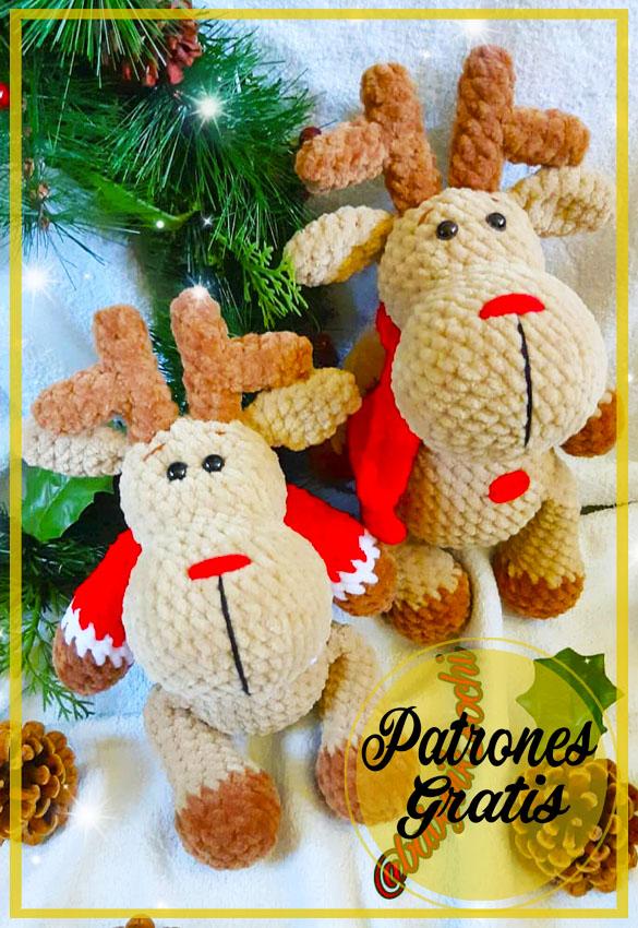 Renos navideños coloridos amigurumi Patrón Gratis