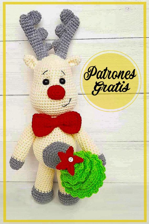 Ciervos de Navidad blancos Amigurumi patrón gratis