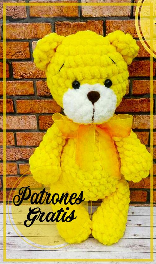 Coloridos lindos osos de peluche Amigurumi patrón gratis