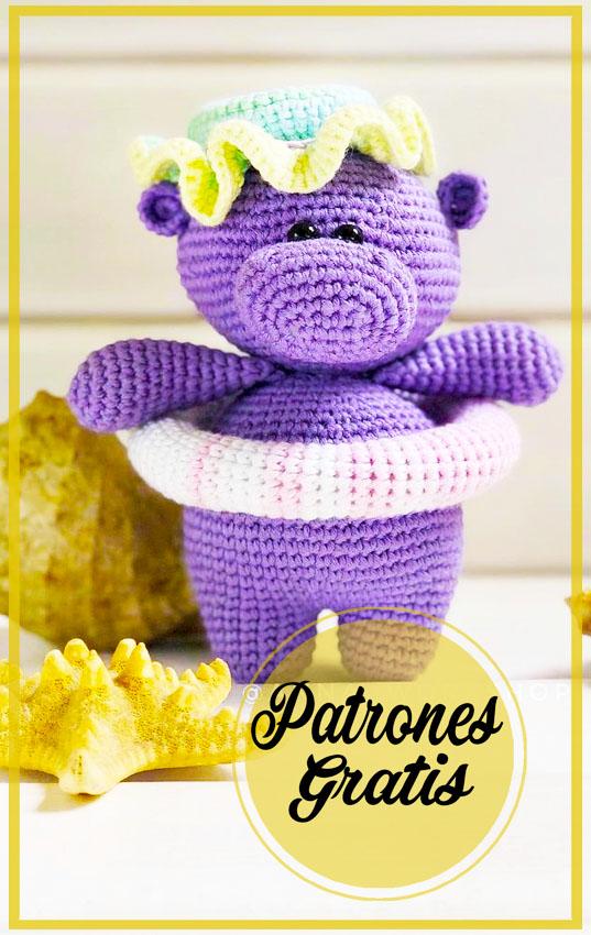 Púrpura diminuto Hipopótamo amigurumi patrón Gratis