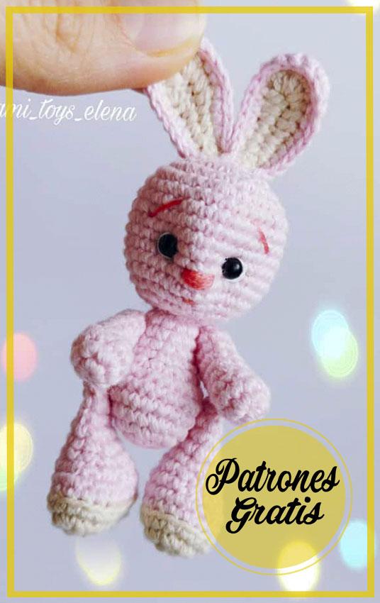 Llavero conejo rosa Amigurumi patrón gratis
