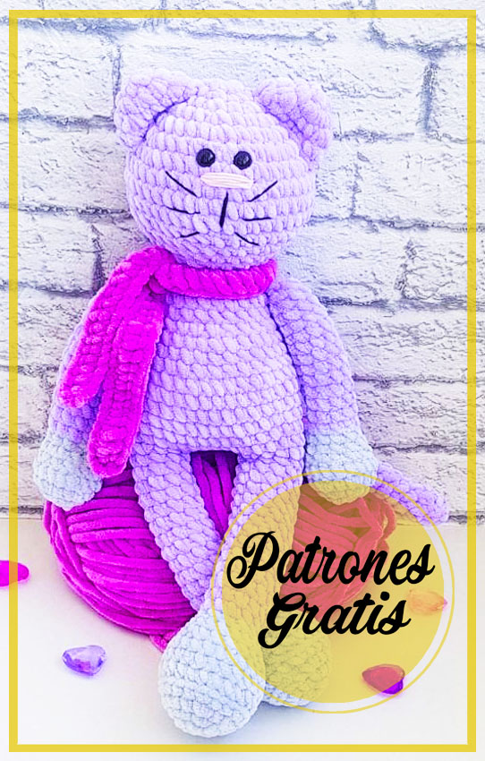 Gato púrpura amigurumi patrón gratis