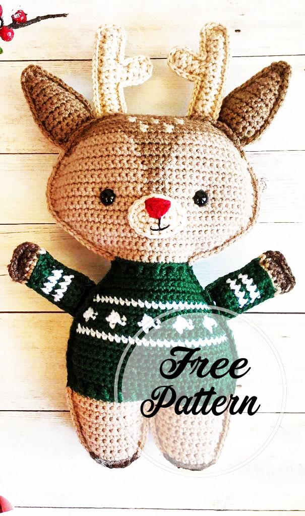 Reno de Navidad amigurumi ganchillo Patrón gratis
