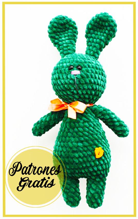 Verde Conejito de felpa Amigurumi Patrón Gratis