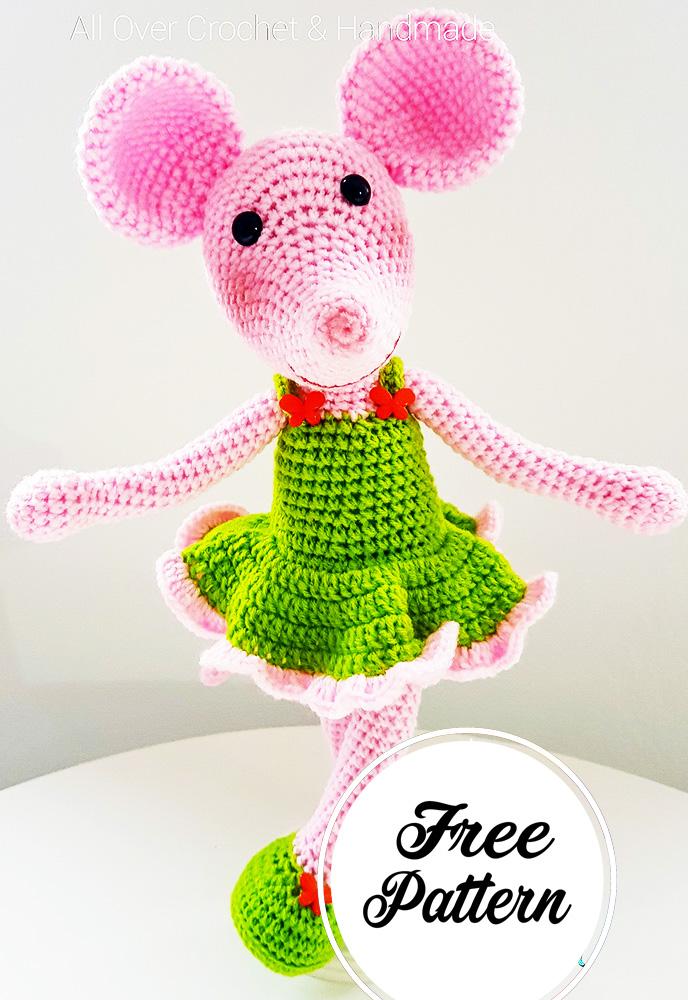 Dulce muñeca de ratón amigurumi patrón Gratis