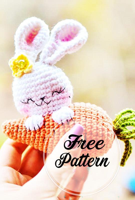 Conejo y Zanahoria amigurumi patrón gratis
