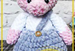 Piggy con pajarita rosa amigurumi patrón gratis
