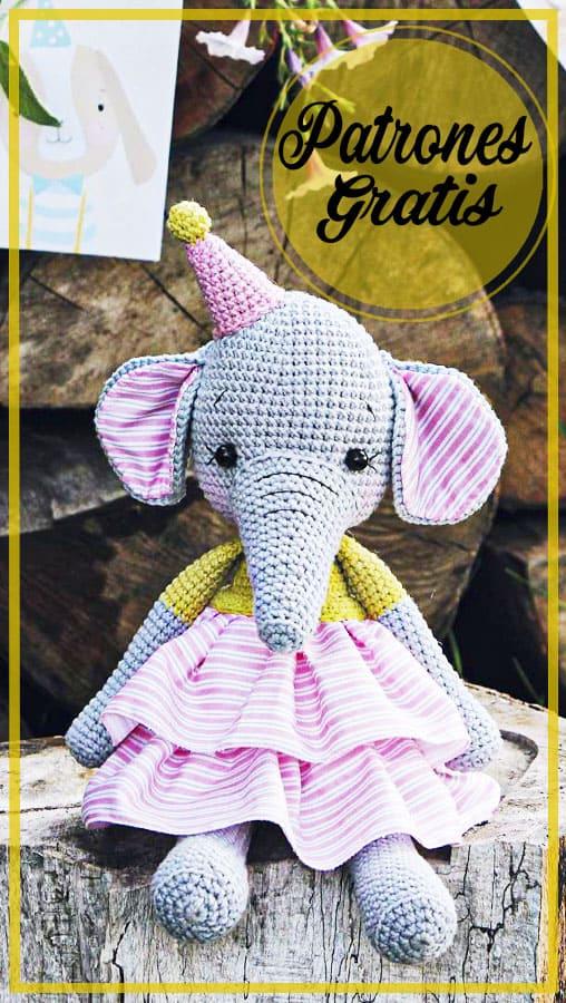 Amigurumi elefante tejer patrón libre de ganchillo