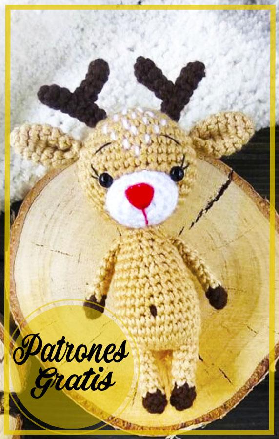 Ciervo navideño amigurumi patrón de ganchillo gratis