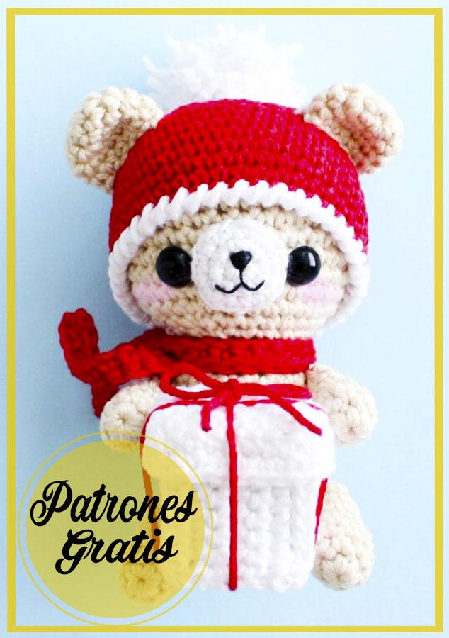 Navidad oso de peluche amigurumi patrón de ganchillo gratis