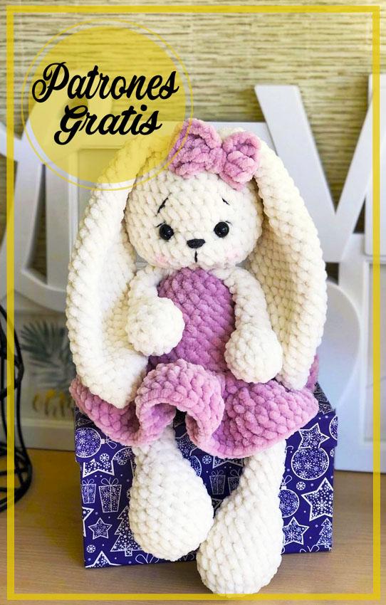 Conejo de Felpa en Vestido Amigurumi Patrones Gratis